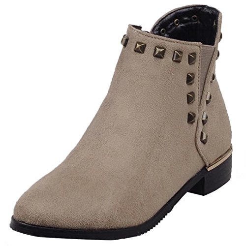AIYOUMEI Damen Nubukleder Flach Stiefeletten mit Nieten und Reißverschluss Bequem Modern Flat Ankle Boots Aprikose