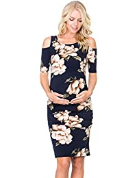 Women's Cold Shoulder Fitted Maternity Dress W/Side Ruched
