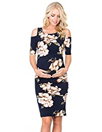 My Bump Women's Cold Shoulder Fitted Maternity Dress W/Side Ruched