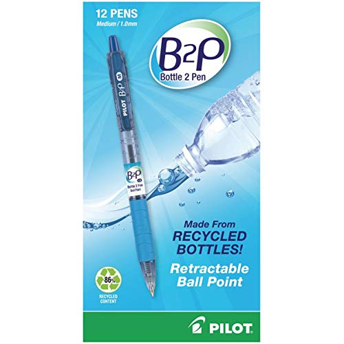 Pilot B2PBottle to Pen Retractable Ballpoint Pens, Medium Point, 1.0 mm, 86% Recycled, Translucent Blue Barrels, Blue Ink, Pack of 12