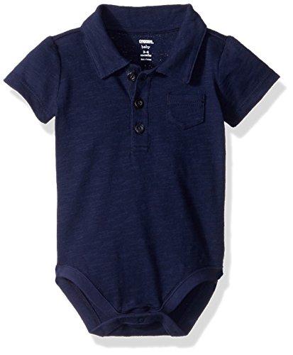 Polo Bodysuit - Gymboree Baby Boys Short Sleeve Pocket Polo Bodysuit, Solid Navy, 6-12 Mo