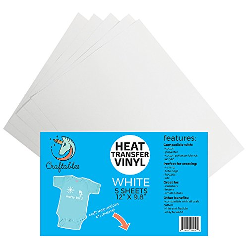 (5) 12 x 9.8 Sheets of Craftables White Heat Transfer Vinyl HTV - Easy to Weed Tshirt Iron on Vinyl for Silhouette Cameo, Cricut, All Craft Cutters. Ships Flat, Guaranteed Size