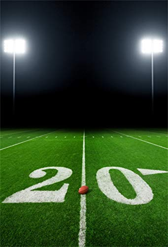 Yeele 5x7ft Rugby Field Backdrop for Photography Stadium American Football Sport Night Game Light Green Grass Background Boys Kids Student Adult Photo Booth Shoot Vinyl Studio Props
