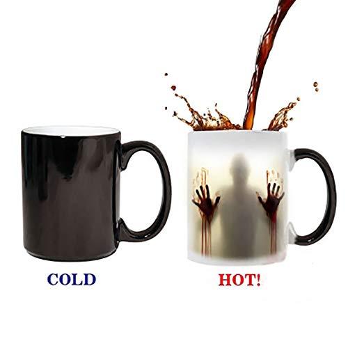 DZLXY Funny Coffee Milk Tea Ceramic Mugs Heat Changing Mug - Best Creative Fun Gifts Ideas for Birthdays,Halloween Friends -