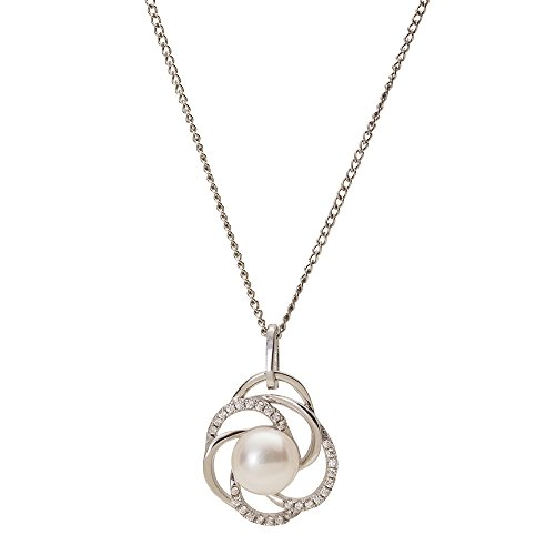 Sterling Silver Pendant with Multi Swirl Stone and Freshwater Cultured Pearl Pendant