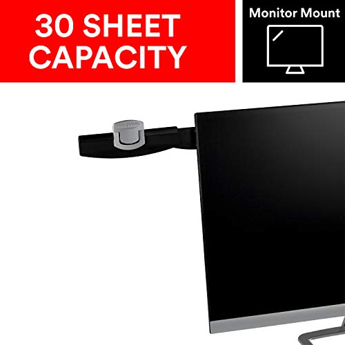 3M Monitor Mount Document Clip, Mounts Right or Left with Command Adhesive, Swings Forward and Back for Easy Viewing and Storage, 30 Sheet Capacity, Black (DH240MB) (Holder Adjustable Document)
