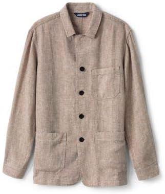 (ランズエンド)メンズ・リネン・シャツジャケット