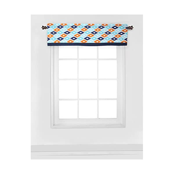 Bacati Liam Aztec Window Valance, Aqua/Orange/Navy, 54 x 15″