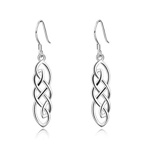 Celtics Earrings Sterling Silver Good Luck Irish Celtic Knot Dangle Drop Earrings (Celtic knot dangle earrings) Celtic Knot Drop Earrings