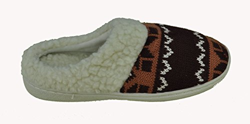 Lining Womens to Tone Woven 5 Pattern Two 10 Winter Fleece size Brown Slipper Faux Cn5Wq7