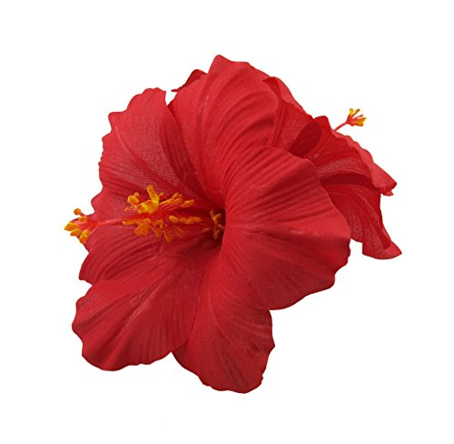 Double Hawaiian Hibiscus Flower Hair Clip (Red)