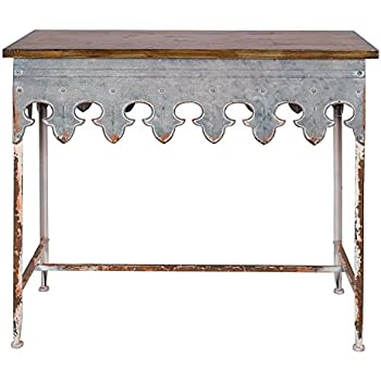 Creative Co Op Metal Scalloped Edge Table With Zinc Finish And Wood Top