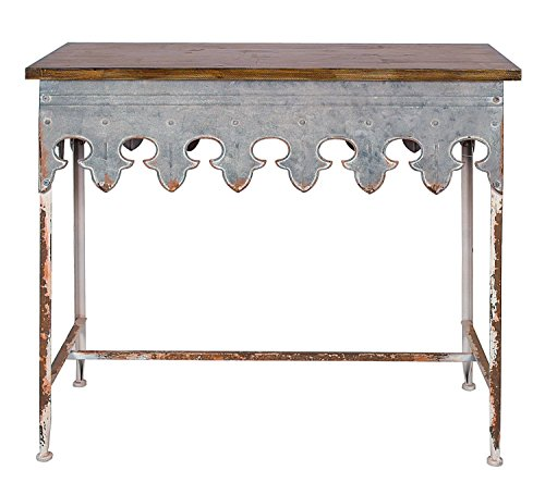 Creative Co-Op Metal Scalloped Edge Table with Zinc Finish and Wood (Metal Wood Finish Table)
