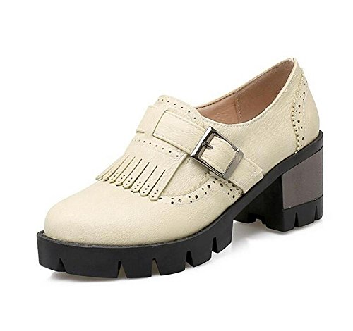 basso Shoes Buckle Walking Belt 38 piatto tacco gray Retro 38 nappe Court XIE BEIGE zwqEgg