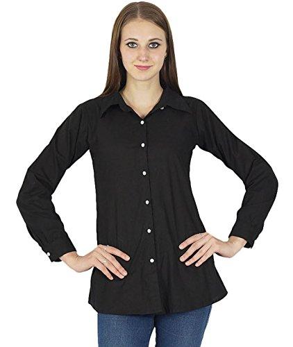 Las mujeres del verano de Boho algodón de la tapa de ropa del desgaste ocasional de la camisa de la túnica Vestido de tirantes Negro