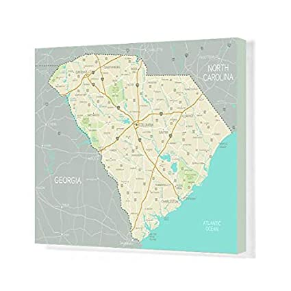 image about Printable Map of South Carolina referred to as : Media Storehouse 20x16 Canvas Print of South