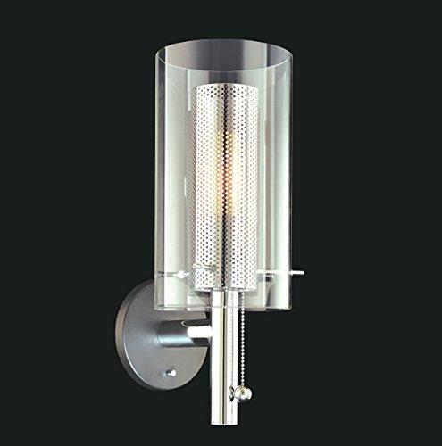 Sonneman 4391.57, Zylinder Tall Glass Wall Sconce Lighting, 1 Light, Black & Chrome