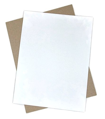 50 Sheets Kraft Chipboard 22 point - 8.5 X 11 Inches Light Medium Weight White Coated on Light Gray Letter Size .022 Caliper Thick