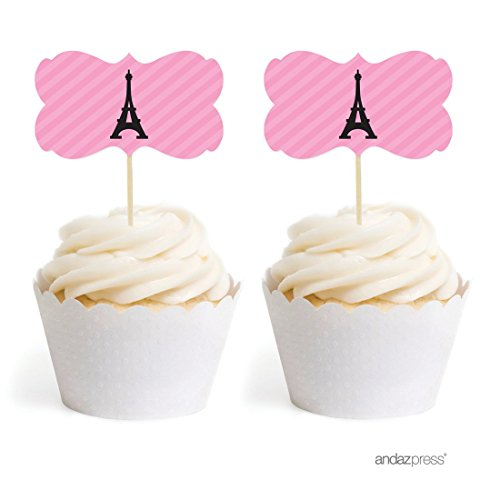 Andaz Press Birthday Cupcake Toppers DIY Party Favors Kit, Paris Eiffel Tower, Double-Sided, 18-Pack -