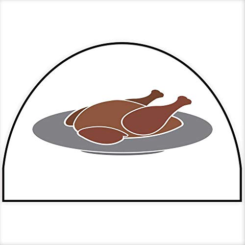 Hua Wu Chou Half Round Coir Door mathalf Round Dog mat W35 x H23 INCH Thanksgiving Turkey or Chicken on Plate Vector icon Color Isolated on White Background