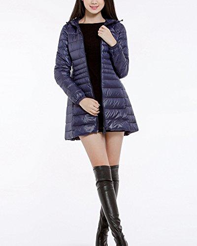 Womens Warm Hooded Jacket Long Warm Coat ZhuiKun Navy Packable Lightweight Down Down x1w6fdT