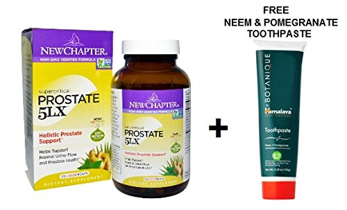 New Chapter - Prostate 5LX 120 liquid Veggie Capsules + FREE Neem & Pomegranate Toothpaste 150 grams (Berry Green New Chapter)