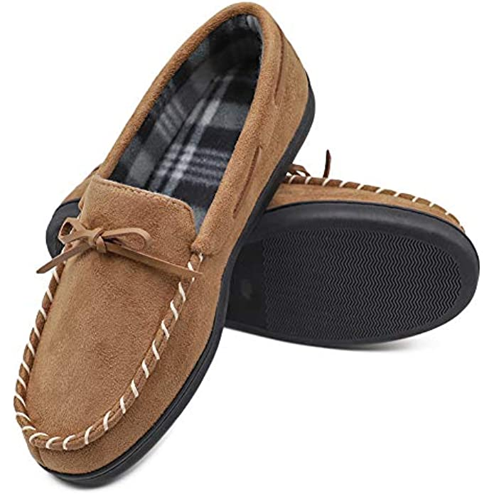 Mwfus Men's Moccasin Slippers with Memory Foam House Shoes Indoor/Outdoor