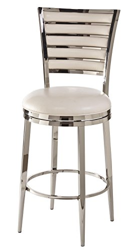 "Hillsdale Furniture Rouen Swivel Counter Stool, 26"", Shiny Nickel"