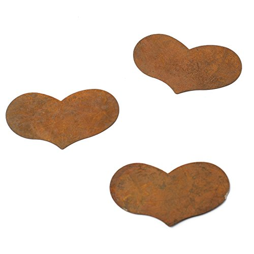 Factory Direct Craft Package of 18 Flat Back Rusty Tin Heart Cutouts
