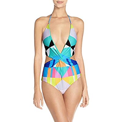 Sexy Bikinis For Women - One Piece Halter Swimsuit Deep V High Cut Backless Geometry Bathing Suit Monokini