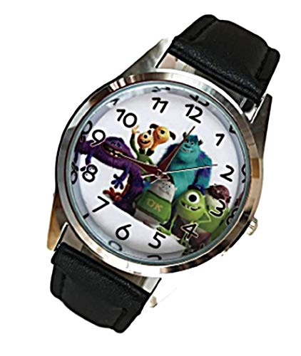 New Horizons Production Disney's Monsters Inc Characters Black Leather Band Wrist Watch -