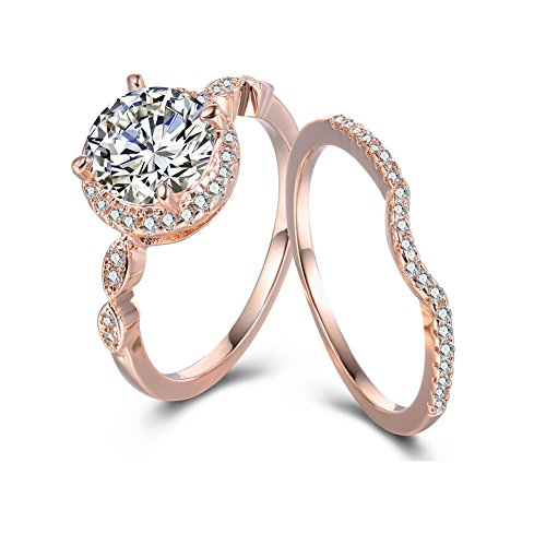Fashionever Women's Engagement Ring Brass with AAA White CZ Rose Gold Jewelry Wedding Ring Set ()