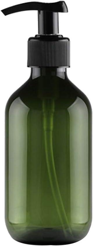 Kentop - Botella de vidrio de color ámbar con dispensador de jabón y loción de 300 ml, botellas de viaje, rellenables, de plástico vacío, color verde