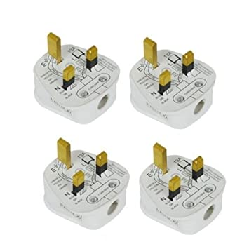 4 x Standard UK Fused 13 Amp Weiß Netzteil 3 Pin Haushalt-Stecker ...
