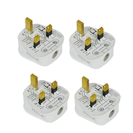 4x standard uk fused 13 amp white mains 3 pin household plugs fitted 4x standard uk fused 13 amp white mains 3 pin household plugs fitted with colour coded asfbconference2016 Choice Image