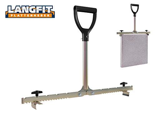 LANGFIT Plattenheber mit extra langem Griff - 20-62cm - Schonend für Rücken und Hüfte! Tragkraft bis 60kg - Made in Germany - MS-PH2062L