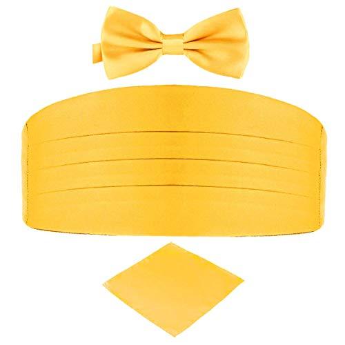 Mens Satin Cummerbund Bow Tie Hanky Pocket Square Set Formal Business Wedding Party Gift (Gold Yellow)