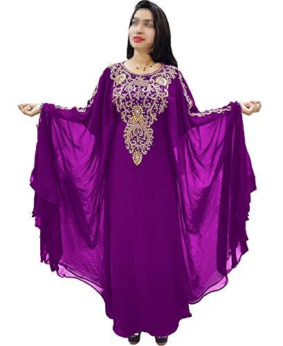 35c375f6a4 African Boutique Dubai Kaftan for Women Beads Work Maxi Dress Gown Formal  Chiffon African Wear Purple