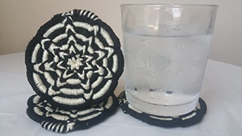 Handmade Drink Coasters. Made with yarn and the Coiling African basket-weaving technique, Set of 4, Spoked Black/offwhite-Handmade Crochet.