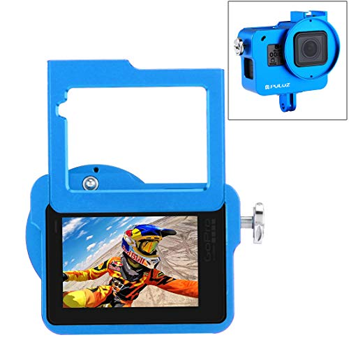 PULUZ Housing Shell Case CNC Aluminum Alloy Protective Cage with Insurance Frame & 52mm UV Lens for GoPro Hero 7 Black New Hero (2018) Hero 6 5 (Blue)