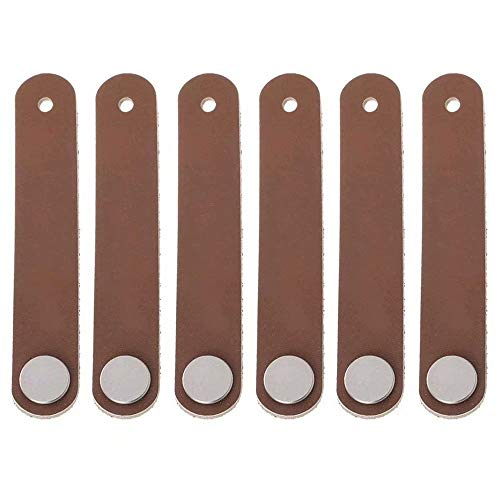 - Creatdiy 6 pcs Genuine Leather Drawer Pulls Wardrobe Cabinet Knobs Kitchen Bar Cabinet Hardware/Dresser Drawer Handles Upholstered Leather Cupboard Handle