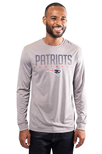 Ultra Game Men's NFL Athletic Quick Dry Long Sleeve T-Shirt, New England Patriots, Heather Gray, Large (Tshirt Nfl Men)