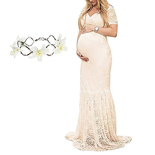 29d206cfaa38c Women s Maxi Photography Dress Short Sleeve Lace Maternity Gown Off  Shoulder V Neck