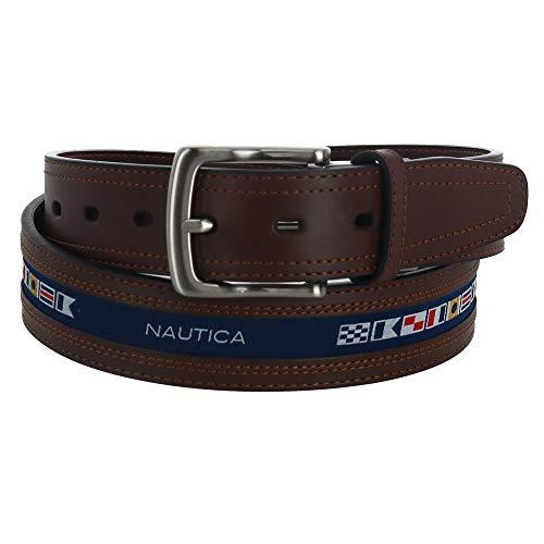 - Nautica Men's Reversible Belt with Ribbon Inlay, 34, Cognac
