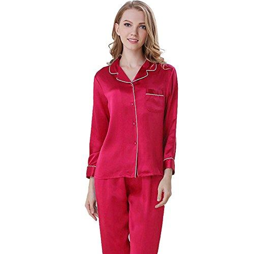 NANJUN Women's Satin Pajamas Sleepwear Long Button-Down Pj Set(Rose,s)]()