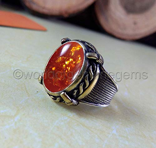 (baltic amber ring, four prong setting ring, two tone ring, 925 sterling silver, designer handmade jewelry, baltic amber men's ring, gemstone ring, wedding gift ring, birthday gift ring, gift for him)
