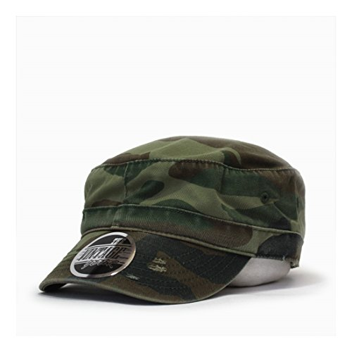 Washed Cadet Cotton Twill Adjustable Military Radar Caps (Distressed Camo) Washed Twill Camo