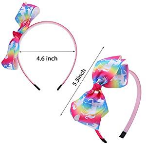 Elcoho 12 Styles Unicorn Bow Headband Unicorn Theme Hair Bows Teeth Comb Hair Hoops Hair Accessories for Girls, 12 Pieces (12 Colors A)