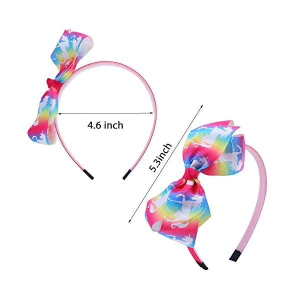Elcoho 12 Styles Unicorn Bow Headband Unicorn Theme Hair Bows Teeth Comb Hair Hoops Hair Accessories for Girls, 12 Pieces 4