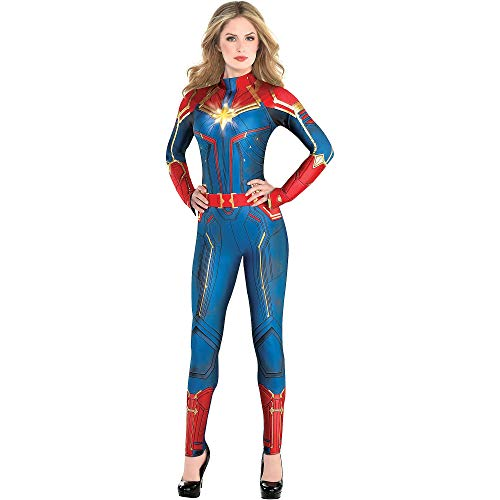 Costumes USA Light-Up Captain Marvel Halloween Costume for Women, Superhero Jumpsuit, Medium, Dress Size 6-8